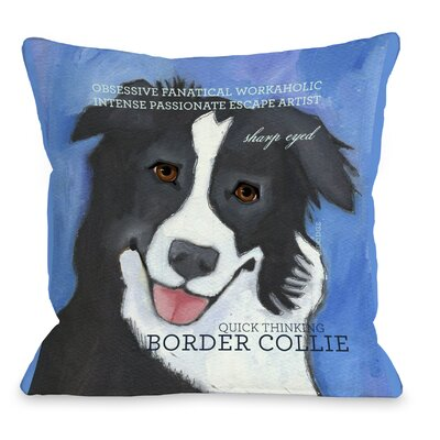 Doggy D�cor Border Collie Throw Pillow Size: 16 H x 16 W