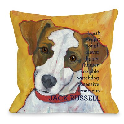 Doggy D�cor Jack Russell Throw Pillow Size: 16 H x 16 W