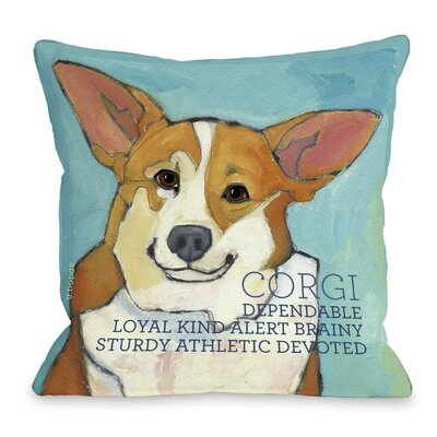 Doggy D�cor Corgi Throw Pillow Size: 16 H x 16 W