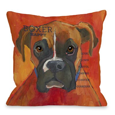Doggy D�cor Boxer Throw Pillow Size: 26 H x 26 W