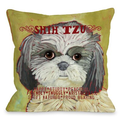 Doggy D�cor Shih Tzu Throw Pillow Size: 18 H x 18 W
