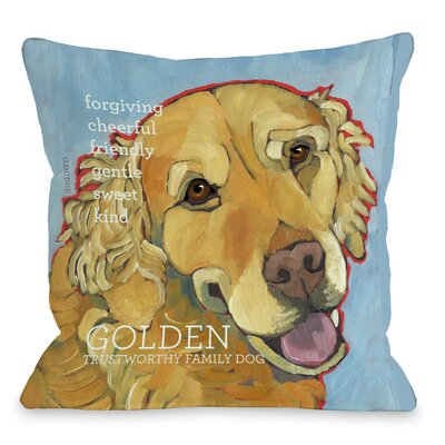 Doggy D�cor Golden Retriever 1 Throw Pillow Size: 26 H x 26 W