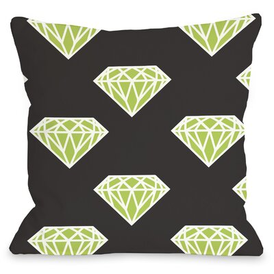 All Over Diamond Throw Pillow Size: 16 H x 16 W, Color: Black Lime