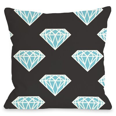 All Over Diamond Throw Pillow Size: 16 H x 16 W, Color: Aqua
