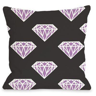 All Over Diamond Throw Pillow Size: 16 H x 16 W, Color: Black Fuchsia