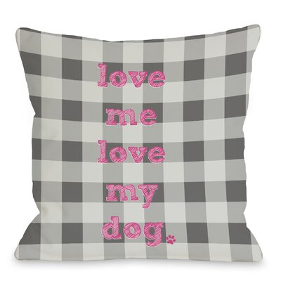 Doggy D�cor Love Me Love My Dog Plaid Throw Pillow