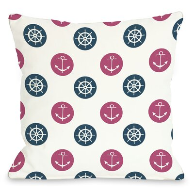 Anchor Wheel Polka Dot Throw Pillow Size: 26 H x 26 W, Color: Blue