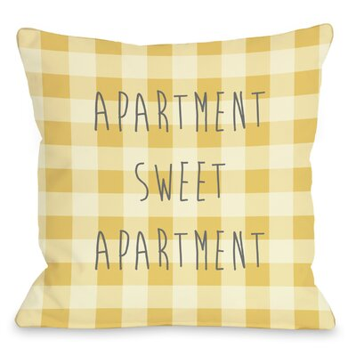 Apartment Sweet Apartment Gingham Throw Pillow Size: 18 H x 18 W