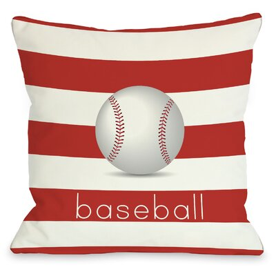 Baseball Throw Pillow Size: 18 H x 18 W