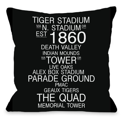 Baton Rouge Louisiana Landmarks Throw Pillow Size: 18 H x 18 W