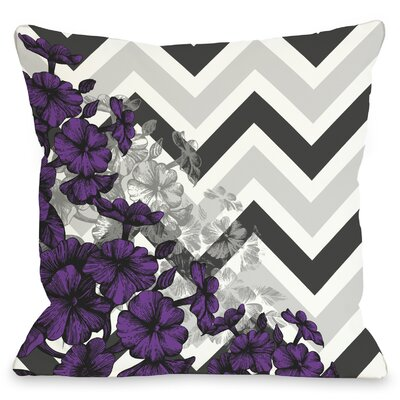 Amber Chevron Floral Throw Pillow Color: Purple, Size: 20 x 20