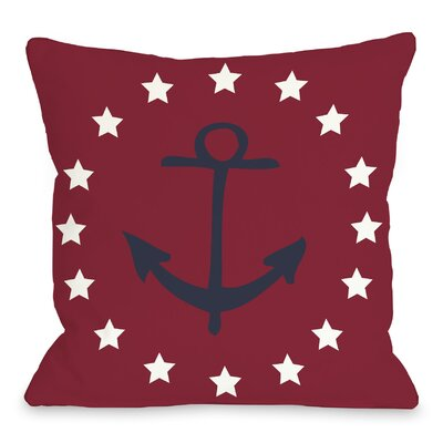 Anchor Circle Stars Throw Pillow Size: 18 H x 18 W, Color: Red Blue