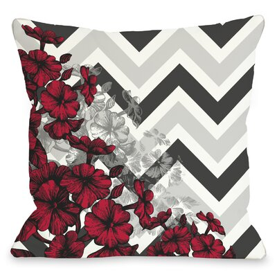 Santini Chevron Floral Throw Pillow Color: Red, Size: 18 x 18