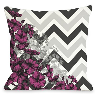Amber Chevron Floral Throw Pillow Color: Pink, Size: 18 x 18