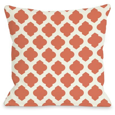 """One Bella Casa All Over Moroccan Throw Pillow - Size: 16"""" H x 16"""" W, Color: Orange Ivory"""