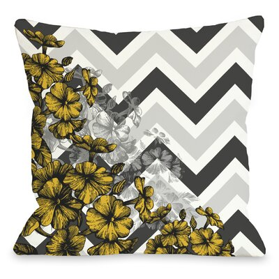 Amber Chevron Floral Throw Pillow Color: Yellow, Size: 18 x 18