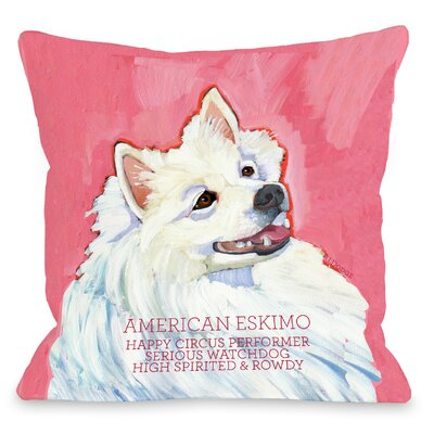 Doggy D�cor American Eskimo Throw Pillow Size: 18 H x 18 W