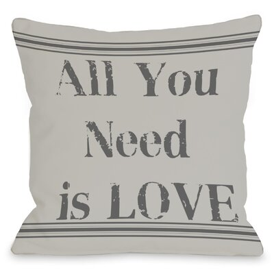 All You Need is Love Vintage Stripe Throw Pillow Size: 16 H x 16 W
