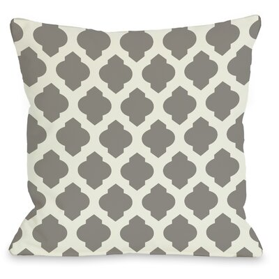 """One Bella Casa All Over Moroccan Throw Pillow - Size: 18"""" H x 18"""" W, Color: Black Ivory"""
