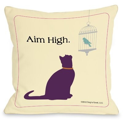 Doggy D�cor Aim High Cat Throw Pillow Size: 18 H x 18 W