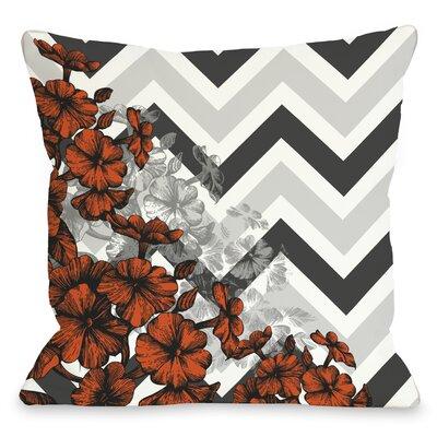 Amber Chevron Floral Throw Pillow Color: Orange, Size: 18 x 18