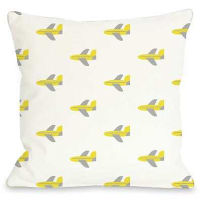 All Over Airplane Throw Pillow Size: 16 H x 16 W