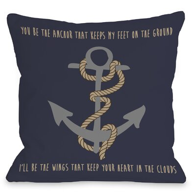 Anchor Feet on Ground Heart Throw Pillow Size: 18 H x 18 W