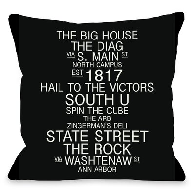 Ann Arbor Michigan Landmarks Throw Pillow Size: 18 H x 18 W