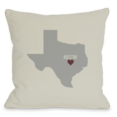 Austin Heart Map Throw Pillow