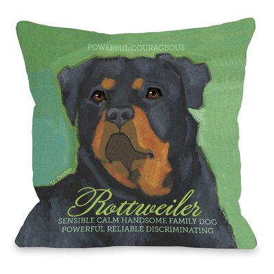 Doggy D�cor Rottweiler Throw Pillow Size: 18 H x 18 W