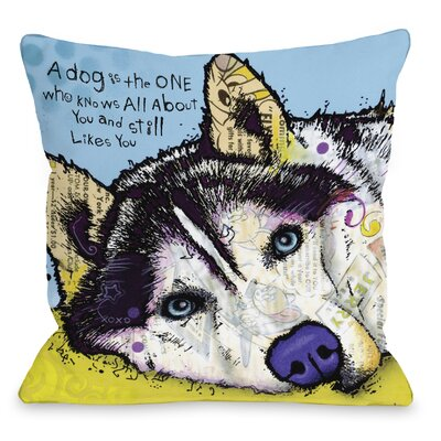 Doggy D�cor Siberian Husky with Text Throw Pillow Size: 16 H x 16 W