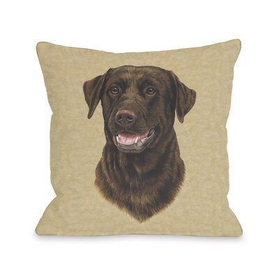 Doggy D�cor Chocolate Lab Head Throw Pillow Size: 26 H x 26 W