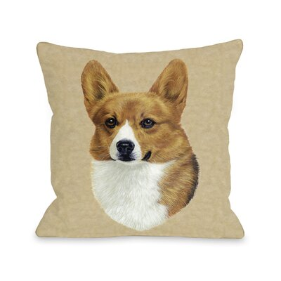 Doggy D�cor Corgi Head Throw Pillow Size: 26 H x 26 W