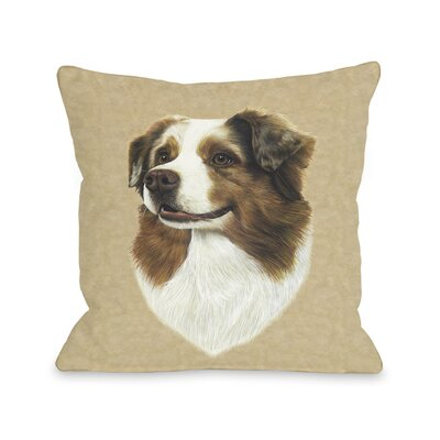 Doggy D�cor Australian Shepherd Head Throw Pillow Size: 26 H x 26 W