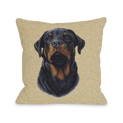 Doggy D�cor Rottweiler Head Throw Pillow Size: 26 H x 26 W