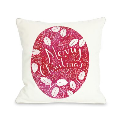 Merry Christmas Circle Ivy Throw Pillow