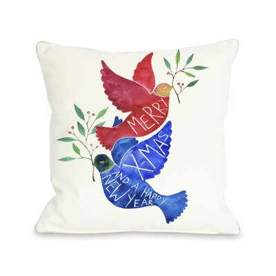 Merry Xmas Birds Throw Pillow