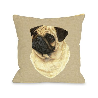 Doggy D�cor Pug Head Throw Pillow Size: 26 H x 26 W