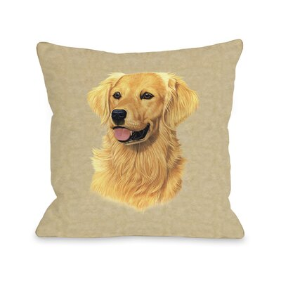 Doggy D�cor Golden Retriever Single Throw Pillow Size: 26 H x 26 W