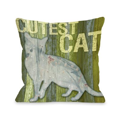 Doggy D�cor Cutest Cat Wood Throw Pillow Size: 26 H x 26 W