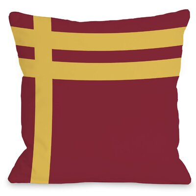 Three Lines Throw Pillow Size: 16 H x 16 W, Color: Red Yellow