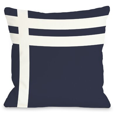 Three Lines Throw Pillow Size: 16 H x 16 W, Color: Navy White
