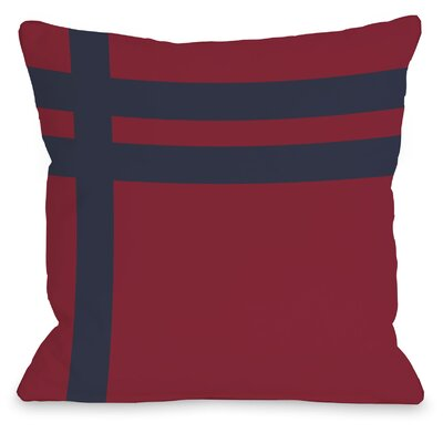 Three Lines Throw Pillow Size: 26 H x 26 W, Color: Red Navy