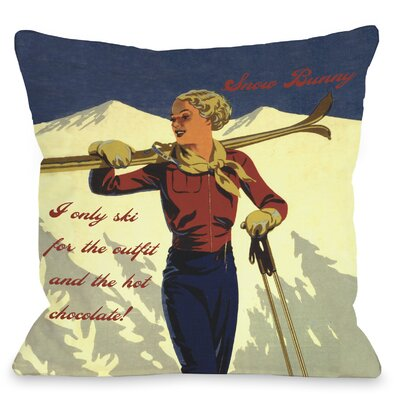 Snow Bunny Vintage Ski Throw Pillow Size: 18 H x 18 W