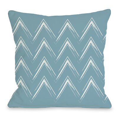 Sabrina Brush Chevron Throw Pillow Color: Milky Blue