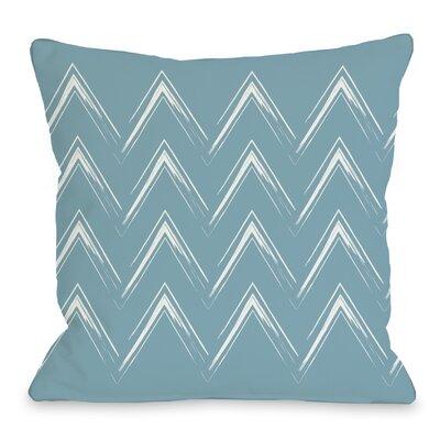 Sabrina Brush Chevron Throw Pillow Color: Milky Blue