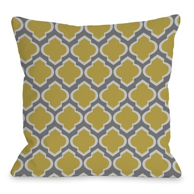 Macy Moroccan Throw Pillow Size: 18 H x 18 W, Color: Gray Oil Yellow