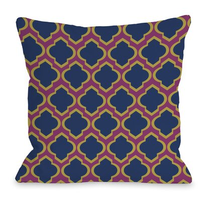 Macy Moroccan Throw Pillow Size: 16 H x 16 W, Color: Fuchsia Dark Blue