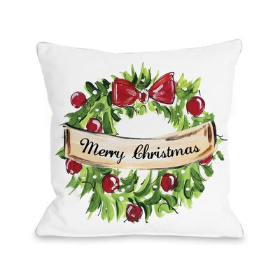 Christmas Wreath Throw Pillow Size: 16 H x 16 W x 3 D