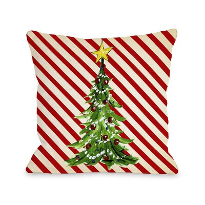 Christmas Tree Stripes Throw Pillow Size: 16 H x 16 W x 3 D